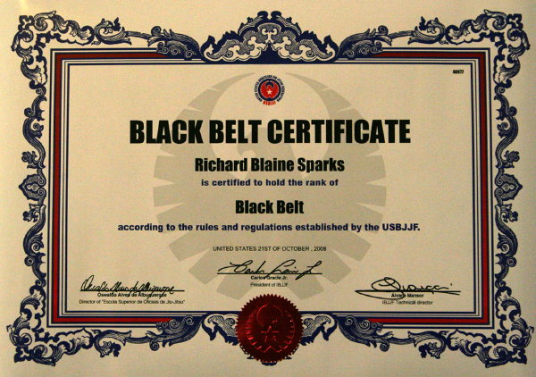 Untitled document for Black belt certificate template